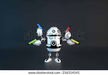 Four-armed robot with pencils. Multitasking concept. Contains clipping path. - stock photo