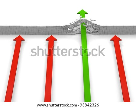 Four arrows coming to an obstacle, only on breaking through, concept of achievement - stock photo