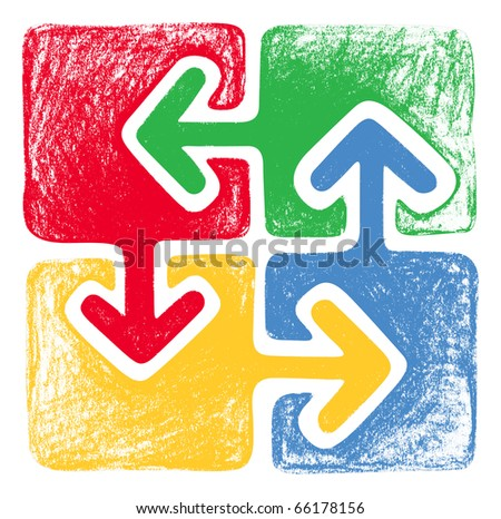 Four Arrows: green, red, yellow and blue - stock photo