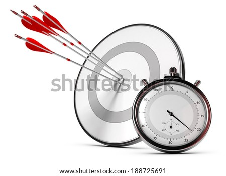 Four arrows hitting the center of a grey target plus a stopwatch, Illustration of SMART objectives or measurable goals. - stock photo