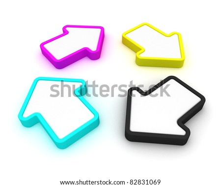 Four arrows of CMYK palette in rotating loop - stock photo
