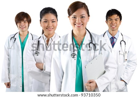 Four Asian doctors wearing a white coats with stethoscope's. Isolated on white. - stock photo