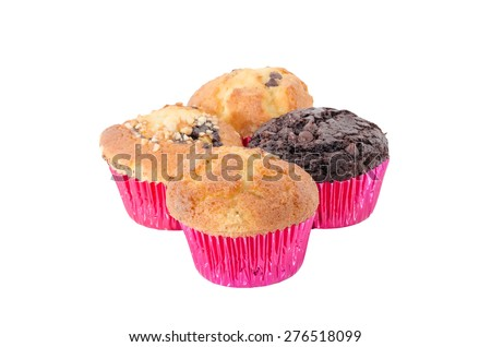 Four assorted cup cakes on white background - stock photo