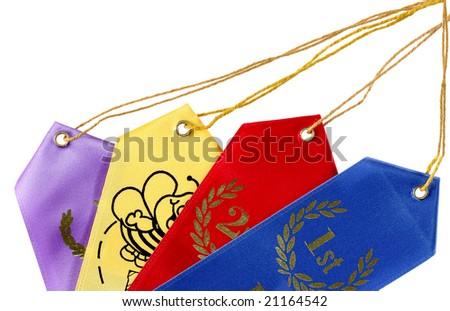 Four award ribbons isolated on white background - stock photo