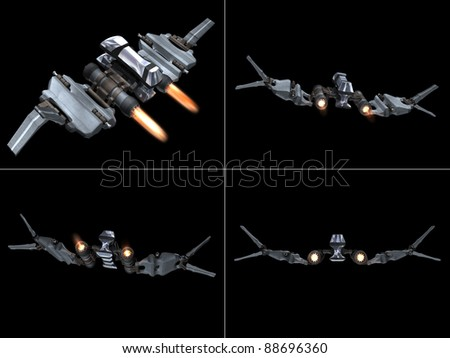 Four back views of a StarFighter in action with a black background - stock photo