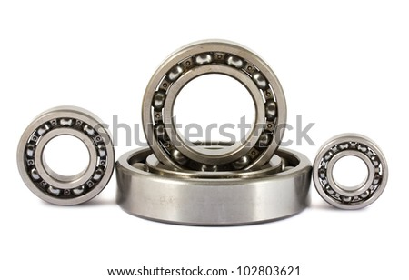 Four ball bearings isolated on white background