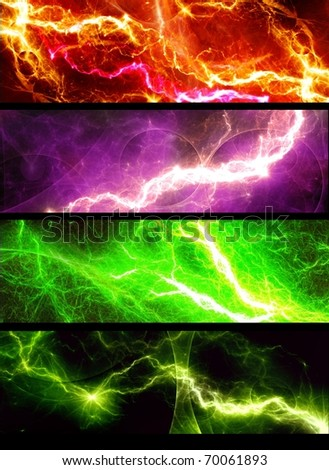 four banners with abstract lightnings - stock photo