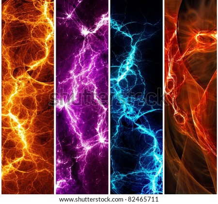 Four banners with colorful abstract lightnings - stock photo