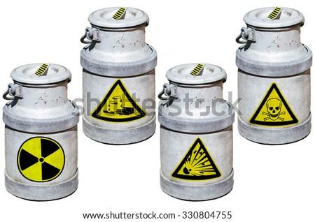 Four barrels with hazardous waste. Barrels marked by symbols. - stock photo