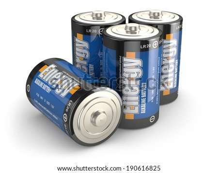 Four batteries on white isloted background. 3d - stock photo