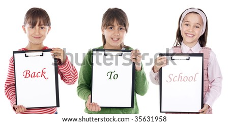 Four beautiful children student with notepad (back to school) - stock photo