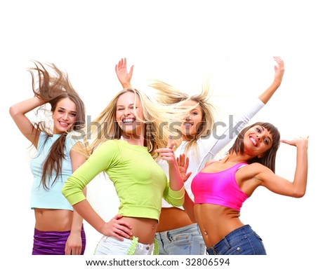 Four beautiful happy young women with a smile in bright multi-coloured clothes, isolated on a white background, please see some of my other parts of a body images - stock photo