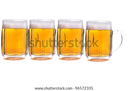 four beer isolated on the white background