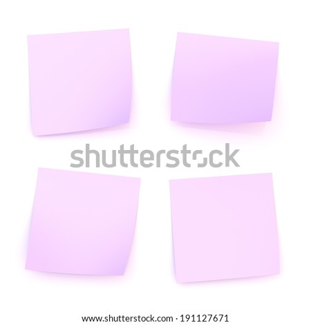Four bent violet sticker paper notes with shadow and reflections over the white surface - stock photo