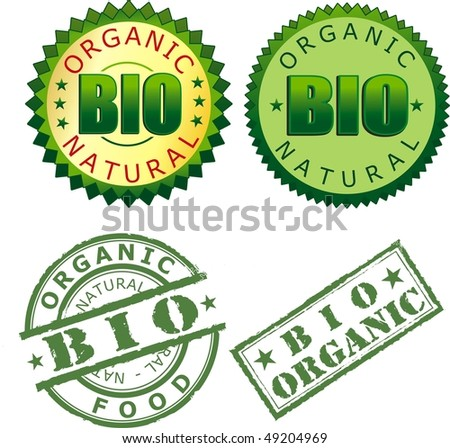 four bio label isolated on withe background - stock photo