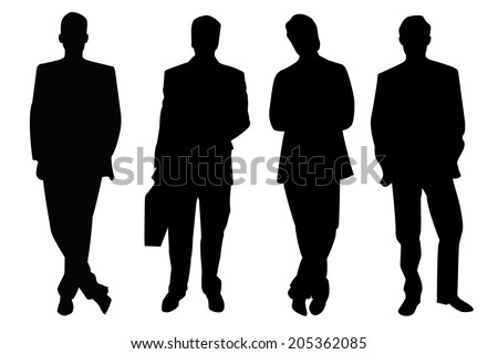 Four Black Businessmen silhouette isolated on white.