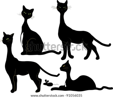 Four Black Cats and mouse - stock photo