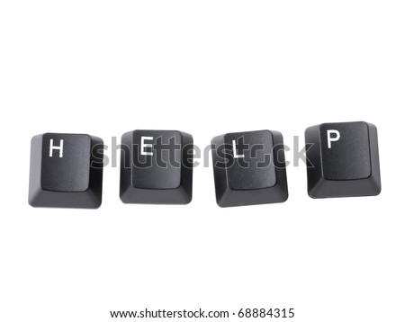 Four black computer keyboard keys arranged to spell HELP word isolated on white