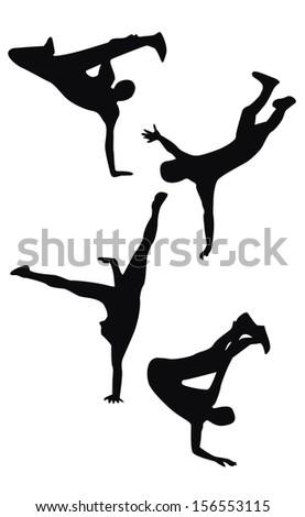 Four black hip hop dancing silhouettes  - stock photo