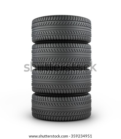 Four black rubber tires on a white background. - stock photo