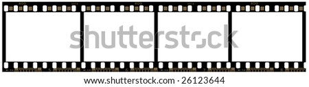 Four blank frames of 35mm film between numbers 5 and 8. Picture is isolated and contain a clipping path. All auxiliary callouts are at both sides of film. - stock photo
