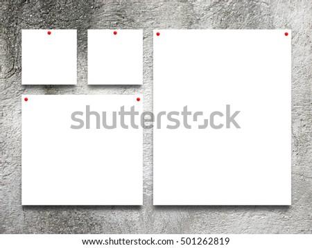 Closeup four square rectangular paper sheet stock photo for Four blank walls