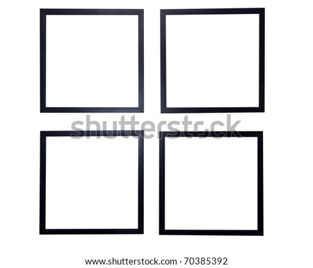Four blank picture frames isolated on white background with clipping path. - stock photo