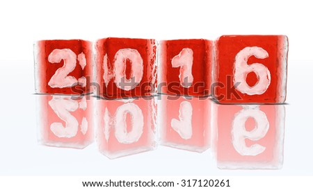 Four blocks of rough red ice on white background with frozen-in bubbles in the form of numbers 2, 0, 1 and 6