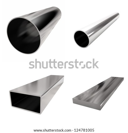 four blocks stainless steel on the white - stock photo