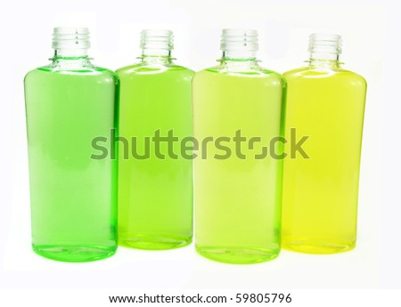 four bottles set of herbal shampoo with natural essences