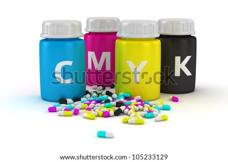 Four bottles with paint of cmyk colors and heap of colored capsules - stock photo