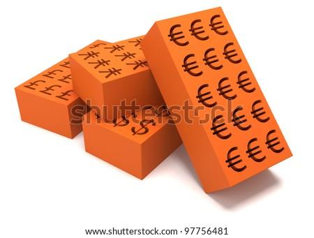 four bricks on white background - stock photo