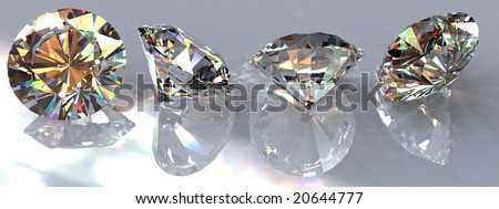 Four brilliant cut clear diamonds on a reflective surface at various angles showing all of their sides. Photorealistic 3D rendering with HDR and caustics