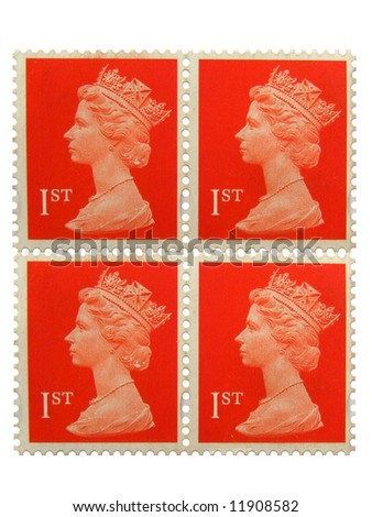 Four british post stamps with Her Majesty Queen Elizabeth I I. - stock photo