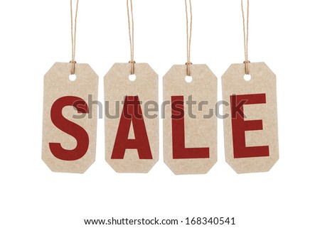 four brown tags with word sale, white background