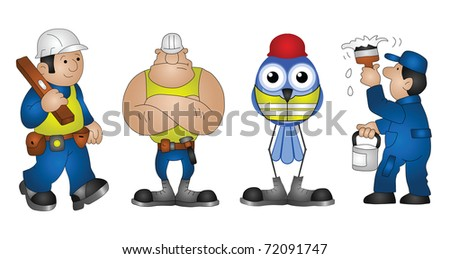 Four building construction characters isolated on white background - stock photo
