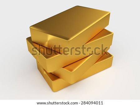 Four bullion of gold lying on each other - stock photo