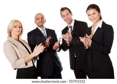 Four business people applauding - stock photo