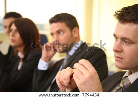 four business people at the debate - stock photo