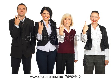Four business people in a row showing counting fingers  isolated on white background