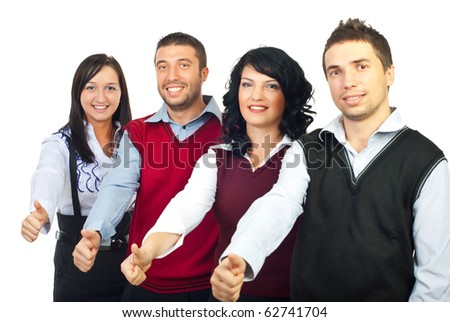 Four business people standing in a row and giving thumbs up isolated on white background