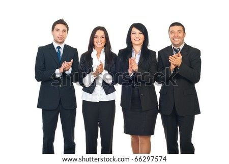 Four business people team standing in a row and clapping isolated on white background - stock photo