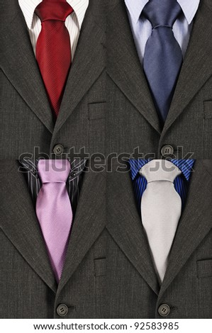 four business suits with different colored shirts and ties