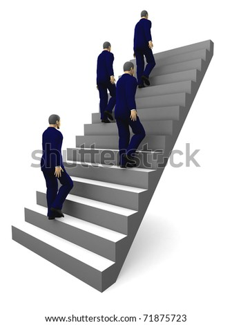Four businessmen climbing a ladder. 3D illustration