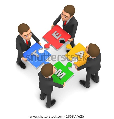 four businessmen collect puzzle - stock photo