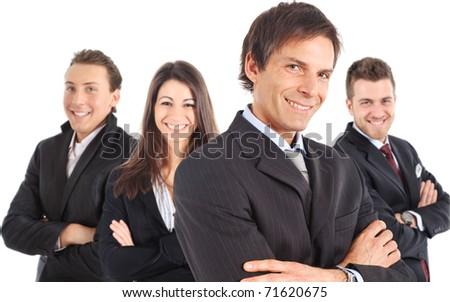 Four businessmen isolated on white - stock photo