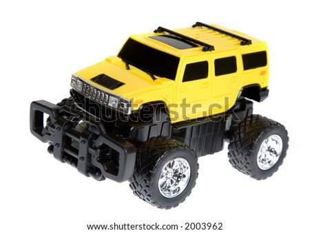 four by four remote control car over a white background - stock photo