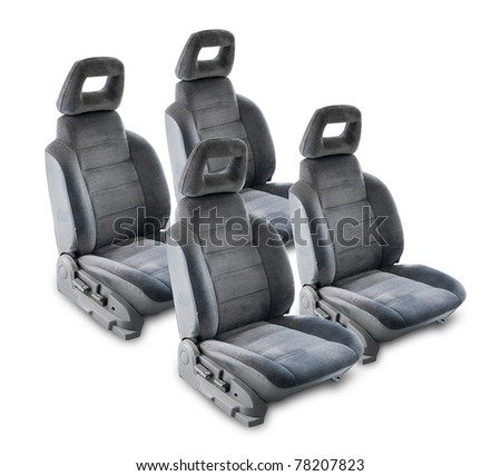 Four car seats. isolated against white background