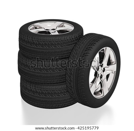 Four car tires on white background.  3d illustration