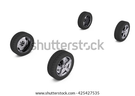 Four car wheels isolated on a white background. Include clipping path. 3d illustration - stock photo